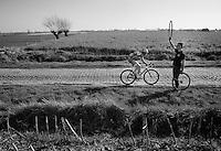 Frederik Veuchelen (BEL) in the Steenstraat<br /> <br /> 3 Days of West-Flanders<br /> stage 2: Nieuwpoort - Ichtegem 186km