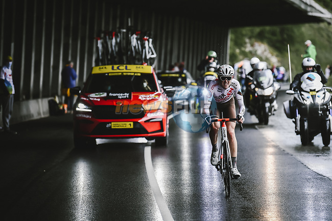 Ben O'Connor (AUS) AG2R Citroën Team out front alone on the final climb during Stage 9 of the 2021 Tour de France, running 150.8km from Cluses to Tignes, France. 4th July 2021.  <br /> Picture: A.S.O./Pauline Ballet | Cyclefile<br /> <br /> All photos usage must carry mandatory copyright credit (© Cyclefile | A.S.O./Pauline Ballet)