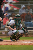Dartmouth Big Green catcher Ben Rice (9) during a game against the Indiana State Sycamores on February 21, 2020 at North Charlotte Regional Park in Port Charlotte, Florida.  Indiana State defeated Dartmouth 1-0.  (Mike Janes/Four Seam Images)