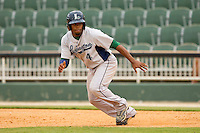 Delino DeShields Jr. #4 of the Lexington Legends takes off for second base during the South Atlantic League game against the Kannapolis Intimidators at CMC-Northeast Stadium on May 20, 2012 in Kannapolis, North Carolina.  The Legends defeated the Intimidators 7-1.  (Brian Westerholt/Four Seam Images)