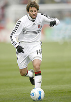 Ben Olsen runs into the attack for DC United. In their first game in their new stadium Colorado Rapids held on to beat DC United 2-1 at Dick's Sporting Goods Park in Commerce City, Colorado on April 7 2007 before the first sellout crowd in Rapids history.