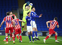 16th March 2021; Cardiff City Stadium, Cardiff, Glamorgan, Wales; English Football League Championship Football, Cardiff City versus Stoke City; Adam Davies of Stoke City misses the catch from the throw-in