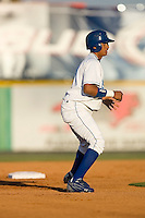 Angel Franco (2) of the Burlington Royals takes his lead off of second base at Burlington Athletic Park in Burlington, NC, Monday August 11, 2008. (Photo by Brian Westerholt / Four Seam Images)