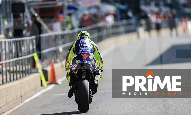 Valentino Rossi (46) of the Movistar Yamaha MotoGP race team during the GoPro British MotoGP at Silverstone Circuit, Towcester, England on 26 August 2018. Photo by Chris Brown / PRiME Media Images