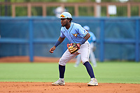 Tampa Bay Rays shortstop Osleivis Basabe (83) during a Minor League Spring Training game against the Atlanta Braves on June 1, 2021 at Charlotte Sports Park in Port Charlotte, Florida.  (Mike Janes/Four Seam Images)