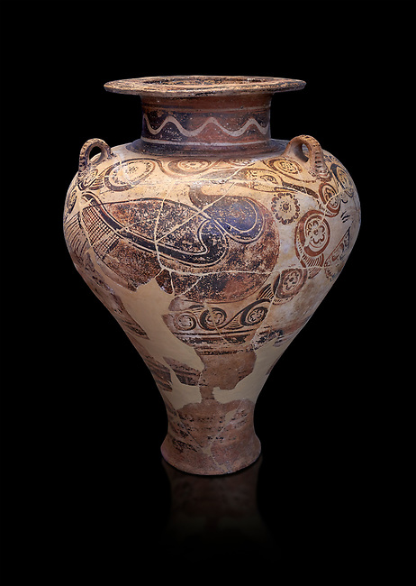 Three handled Palace Style pictoral Mycenaean amphora with aquatic bird motifs, Mycenaean cemetery, Argive Deiras, 15 cnt BC, National Archaeological Museum Athens. Cat no 5650.  Black Background<br /> <br /> This Mycenaean vase is one of the first examples of Mycenaean pictoral pottery created from Minoan influences.