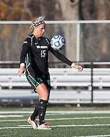 Wilmington University defender Morgan Fraczkowski (15) traps the ball.. In 2012 NCAA Division II Women's Soccer Championship Tournament First Round, College of St Rose (white) defeated Wilmington University (black), 3-0, on Ronald J. Abdow Field at American International College on November 9, 2012.