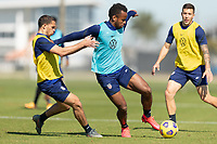 BRADENTON, FL - JANUARY 19: Hassani Dotson, Jeremy Ebobisse battle for a ball during a training session at IMG Academy on January 19, 2021 in Bradenton, Florida.