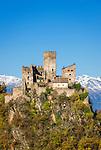 Italy, Alto Adige - Trentino (South Tyrol), Community Appiano sulla Strada del Vino: Appiano Castle, at background mountains of Texel Group (Gruppo Tessa)   Italien, Suedtirol, bei Bozen, Gemeinde Eppan: Schloss Hocheppan, im Hintergrund die Berge der Texelgruppe im Meraner Land