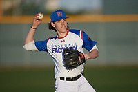 Garret Hill (14) of Williston High School in Williston, North Dakota during the Baseball Factory All-America Pre-Season Tournament, powered by Under Armour, on January 13, 2018 at Sloan Park Complex in Mesa, Arizona.  (Mike Janes/Four Seam Images)