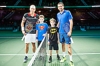 Rotterdam, The Netherlands, Februari 10, 2016,  ABNAMROWTT, Marin Cilic (CRO), Gillis Muller (LUX), Ball-kids<br /> Photo: Tennisimages/Henk Koster