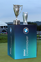 29th August 2021; Owens Mills, Maryland, USA;  BMW Championship trophies displayed on the 18th green after the final round of the BMW Championship on August 29, 2021, at Caves Valley Golf Club in Owings Mills, MD.