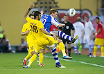 St Johnstone v Eskisehirspor....18.07.12  Uefa Cup Qualifyer.Liam Craig clears fromSari Eysel.Picture by Graeme Hart..Copyright Perthshire Picture Agency.Tel: 01738 623350  Mobile: 07990 594431