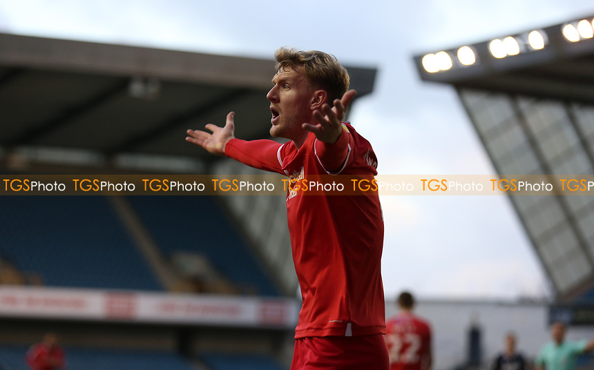 Joe Worrall of Nottingham Forest complains to the referee during Millwall vs Nottingham Forest, Sky Bet EFL Championship Football at The Den on 19th December 2020