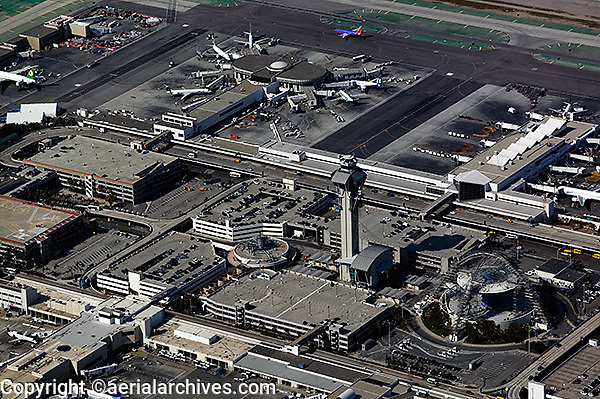 aerial photograph of the Los Angeles International airport (LAX) tower, Los Angeles, California