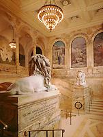 Public Library lions entry staircase,  (McKim =architect,  Puvis de Chavannes murals, St. Gaudens = sculptor) Boston, MA. A Civil War Memorial.
