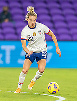 ORLANDO, FL - JANUARY 22: Kristie Mewis #22 of the USWNT dribbles during a game between Colombia and USWNT at Exploria stadium on January 22, 2021 in Orlando, Florida.