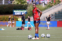 CARY, NC - SEPTEMBER 12: Jessica McDonald #14 of the North Carolina Courage warms up before a game between Portland Thorns FC and North Carolina Courage at Sahlen's Stadium at WakeMed Soccer Park on September 12, 2021 in Cary, North Carolina.