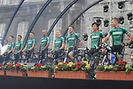 Team Europcar on stage at the Team Presentation Ceremony before the 2012 Tour de France in front of The Palais Provincial, Place Saint-Lambert, Liege, Belgium. 28th June 2012.<br /> (Photo by Eoin Clarke/NEWSFILE)