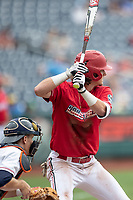 Louisville Cardinals shortstop Tyler Fitzgerald (2) at bat during Game 7 of the NCAA College World Series against the Auburn Tigers on June 18, 2019 at TD Ameritrade Park in Omaha, Nebraska. Louisville defeated Auburn 5-3. (Andrew Woolley/Four Seam Images)