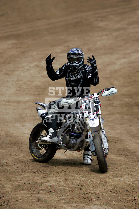 Carey Hart (46) reacts to his bike while competing in the Moto X SuperMoto race during X-Games 12 in Los Angeles, California on August 4, 2006.