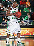 North Texas Mean Green guard Josh White (10) in action in the NCAA  basketball game between the Florida International University Panthers and the University of North Texas Mean Green at the North Texas Coliseum,the Super Pit, in Denton, Texas. UNT defeated FIU 87 to 77