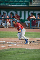 Jose Caraballo (6) of the Idaho Falls Chukars bats against the Ogden Raptors at Lindquist Field on July 29, 2018 in Ogden, Utah. The Raptors defeated the Chukars 20-19. (Stephen Smith/Four Seam Images)
