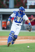 Burlington Royals catcher Chase Vallot (8) chases after a wild pitch during the game against the Johnson City Cardinals at Burlington Athletic Park on July 14, 2014 in Burlington, North Carolina.  The Cardinals defeated the Royals 9-4.  (Brian Westerholt/Four Seam Images)