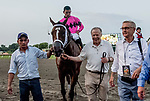July 20, 2019 : Maximum Security #7, ridden by Luis Saez, wins the Haskell Invitational on Haskell Invitational Day at Monmouth Park Race Course in Oceanport, New Jersey.  Carolyn Simancik/Eclipse Sportswire/CSM
