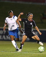 Lisa De Vanna #17  of the Washington Freedom controls the ball in front of Fabiana #15 of the Boston Breakers during a WPS match at the Maryland Soccerplex, in Boyd's, Maryland, on April 18 2009.