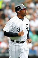 Chicago White Sox coach Harold Baines #3 during a game against the Kansas City Royals at U.S. Cellular Field on August 14, 2011 in Chicago, Illinois.  Chicago defeated Kansas City 6-2.  (Mike Janes/Four Seam Images)