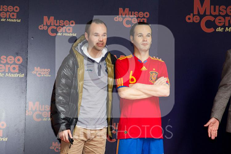 220311.MC. Andres Iniesta and David Villa  present their replica waxworks in Madrid .Madrid.