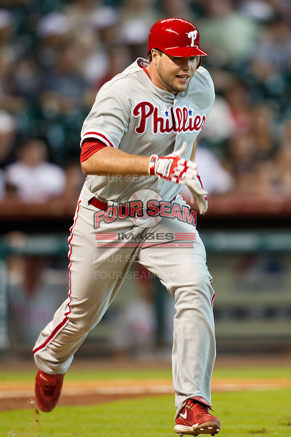 Philadelphia Phillies pinch hitter Darin Ruf #18 runs to first base during the Major League baseball game against the Houston Astros on September 16th, 2012 at Minute Maid Park in Houston, Texas. The Astros defeated the Phillies 7-6. (Andrew Woolley/Four Seam Images).
