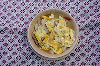 "Nepal, Kathmandu, Swayambhunath.  Lunch:  Tibetan Mixed Noodle Soup (""Then Tuck""): Eggs, Noodles, Cabbage, Onions, Mushrooms."