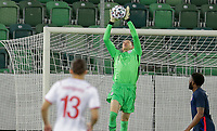 ST. GALLEN, SWITZERLAND - MAY 30: Ethan Horvath #1 leaps high to makes a save during a game between Switzerland and USMNT at Kybunpark on May 30, 2021 in St. Gallen, Switzerland.