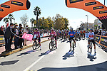 The start of Stage 11 of the 103rd edition of the Giro d'Italia 2020 running 182km from Porto Sant'Elpidio to Rimini, Italy. 14th October 2020.  <br /> Picture: LaPresse/Gian Mattia D'Alberto | Cyclefile<br /> <br /> All photos usage must carry mandatory copyright credit (© Cyclefile | LaPresse/Gian Mattia D'Alberto)