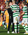 CELTIC MANAGER NEIL LENNON WITH DANIEL MAJSTOROVIC AT THE END OF THE GAME