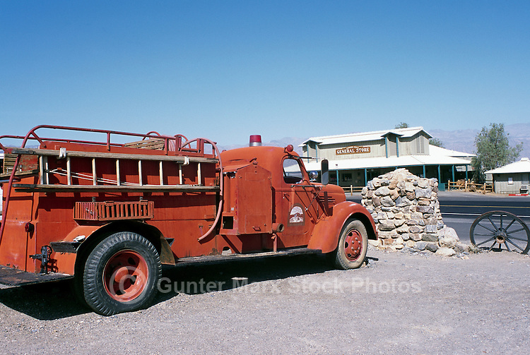 Death Valley National Park, California, CA, USA - Historic Fire Engine at Stovepipe Wells General Store and Campground