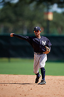 GCL Yankees West second baseman Luis Santos (2) throws to first base during the first game of a doubleheader against the GCL Braves on July 30, 2018 at Champion Stadium in Kissimmee, Florida.  GCL Yankees West defeated GCL Braves 7-5.  (Mike Janes/Four Seam Images)