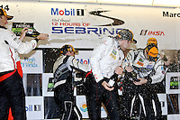 GTD Champagne celebration in victory lane after the 12 Hours of Sebring, Sebring International Raceway, Sebring, FL, March 2014.  (Photo by Brian Cleary/www.bcpix.com)