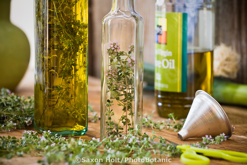Fresh thyme in bottle to make herb oil