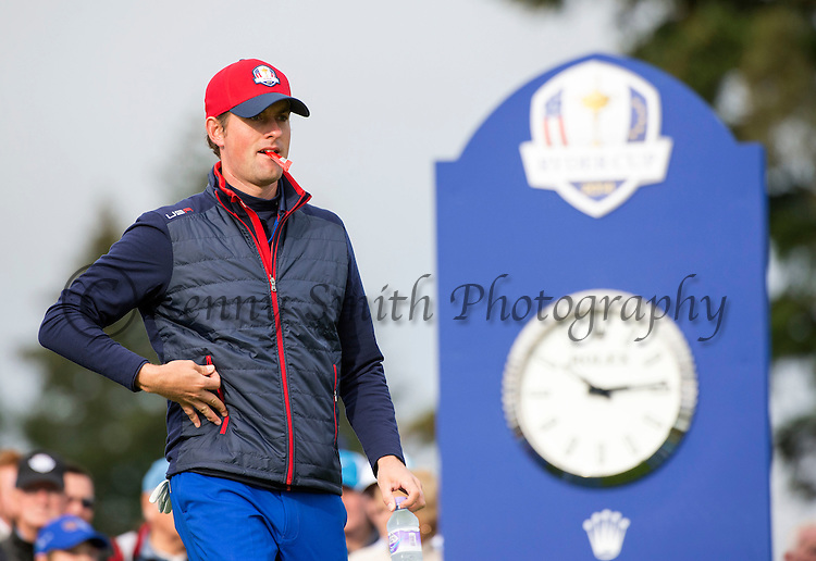 American Jordan Speith makes his way off the 10th tee during a practice session at Gleneagles Golf Course, Perthshire. Photo credit should read: Kenny Smith/Press Association Images.