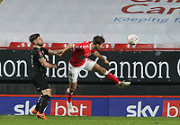 Ben Purrington of Charlton Athletic header is saved by Michael Cooper of Plymouth Argyle during Charlton Athletic vs Plymouth Argyle, Emirates FA Cup Football at The Valley on 7th November 2020