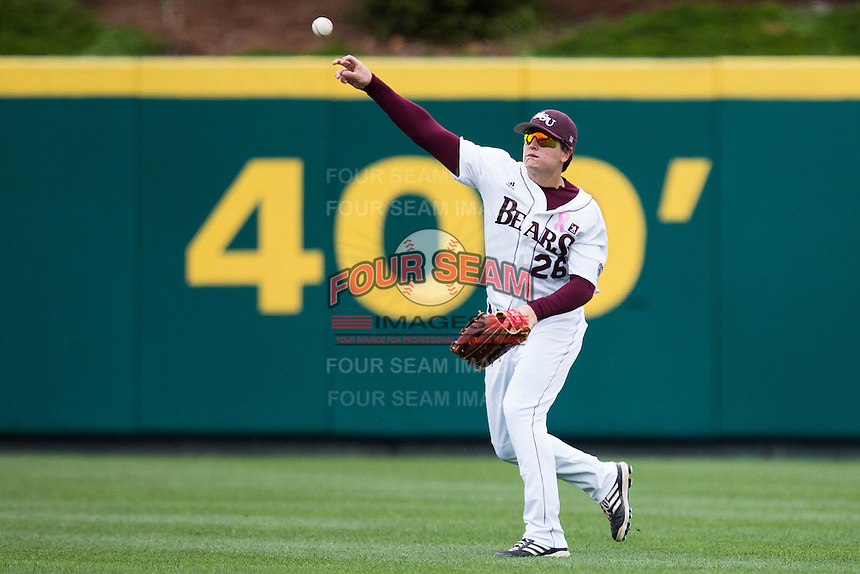 Tate Matheny #26 of the Missouri State Bears throws a ball back into the infield during a game against the Wichita State Shockers at Hammons Field on May 4, 2013 in Springfield, Missouri. (David Welker/Four Seam Images)