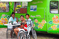 Local Tahitian women at Le Truck lunch truck