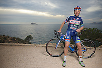 pre-2016 season portrait of Antoine Demoitié (BEL/Wanty-Groupe Gobert) who was involved in a crash during Gent-Wevelgem and were he got hit by a motorbike that couldn't avoid a collision.<br /> Demoitié's condition was that serious that he was taken to ICU/hospital where he later died of his injuries.<br /> <br /> Team Wanty-Groupe Gobert 2016 pre-season training camp<br /> Benidorm, Spain