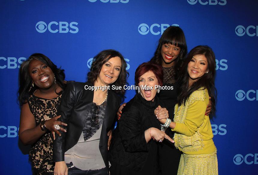The Talk : Sheryl Underwood, Sara Gilbert, Sharon Osbourne, Aisha Tyler. Julie Chen at the CBS Upfront on May 15, 2013 at Lincoln Center, New York City, New York. (Photo by Sue Coflin/Max Photos)