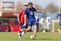 BRADENTON, FL - JANUARY 23: Tanner Tessmann passes the ball during a training session at IMG Academy on January 23, 2021 in Bradenton, Florida.