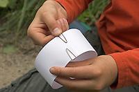 Kinder gießen Tierspur aus Gips, Mädchen formt aus Karton mit Büroklammern einen Ring