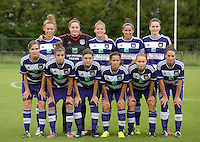 20150904 - TUBIZE , BELGIUM : RSC Anderlecht Ladies pictured  with Diede Lemey , Heleen Jaques , Yasmina Benabid , Nadine Hanssen , Pauline Crammer , Tiana Andries , Noemie Gelders , Laura Deloose , Justine Blave , Marlies Verbruggen and Solange Rodrigues Carvalhas during a soccer match between the women teams of RSC Anderlecht and KRC Genk Ladies  , on the second matchday of the 2015-2016 SUPERLEAGUE season, Friday 4  September 2015 . PHOTO DAVID CATRY